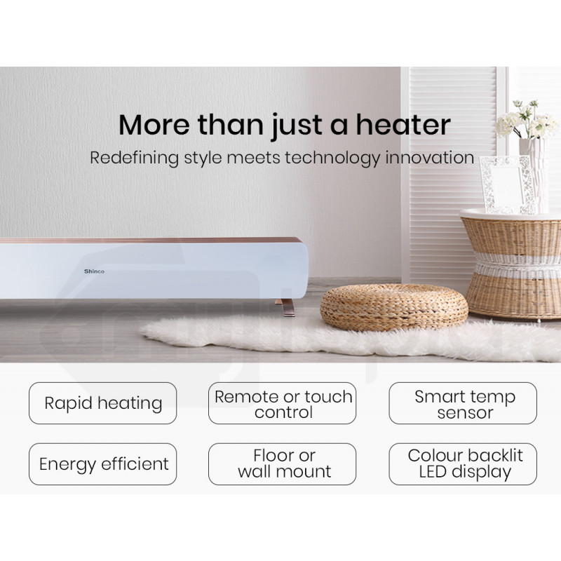 Indoor Electric Panel Heater Wall Mount or Floor Ceramic Glass Remote Control by Bio-Design
