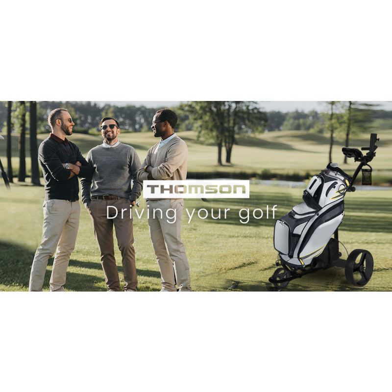 THOMSON 500W Electric Golf Buggy Twin Motor, Drink and Umbrella Holder, Black by Thomson