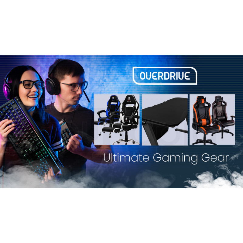 OVERDRIVE Gaming Chair with Footrest and Desk Setup Combo, Black and Blue by Overdrive