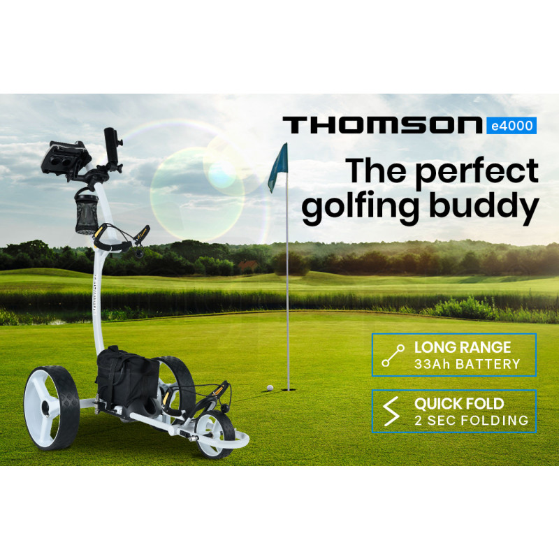 THOMSON Electric Motorised Golf Buggy, Drink and Umbrella Holder, White by Thomson
