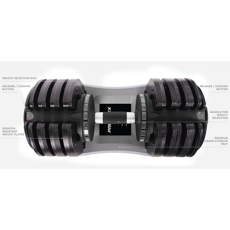 PROFLEX 2 x 36kg Adjustable Weight Dumbbell Set, for Home Gym Fitness Strength Training						 by Proflex