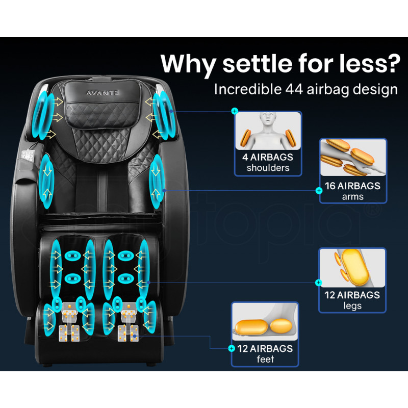 AVANTE Electric Full Body Zero Gravity Massage Recliner Chair with Heat and Bluetooth Black/Blue by Avante