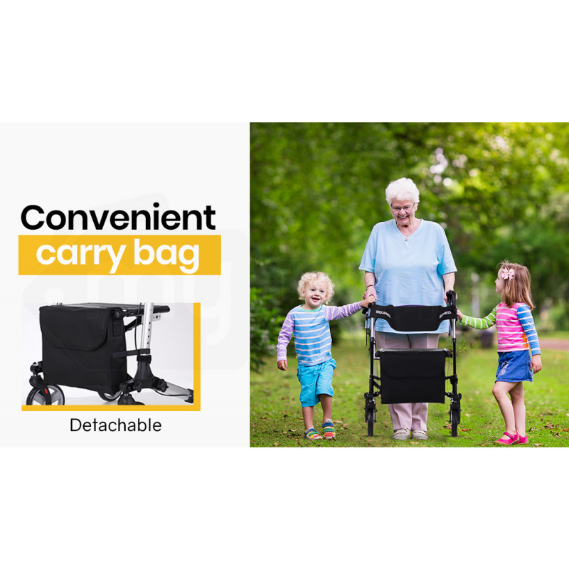EQUIPMED Foldable Aluminium Walking Frame Rollator with Bag and Seat Black by Equipmed