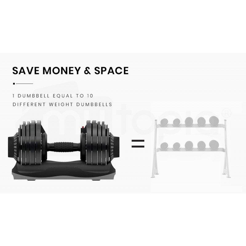 ATIVAFIT 2 x 32.5kg Adjustable Weight Dumbbell Set, for Home Gym Fitness Training by Ativafit