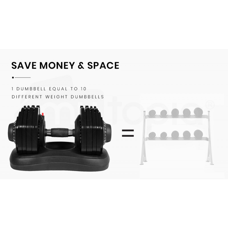 ATIVAFIT 2 x 40kg Adjustable Weight Dumbbell Set, for Home Gym Fitness Strength Training by Ativafit