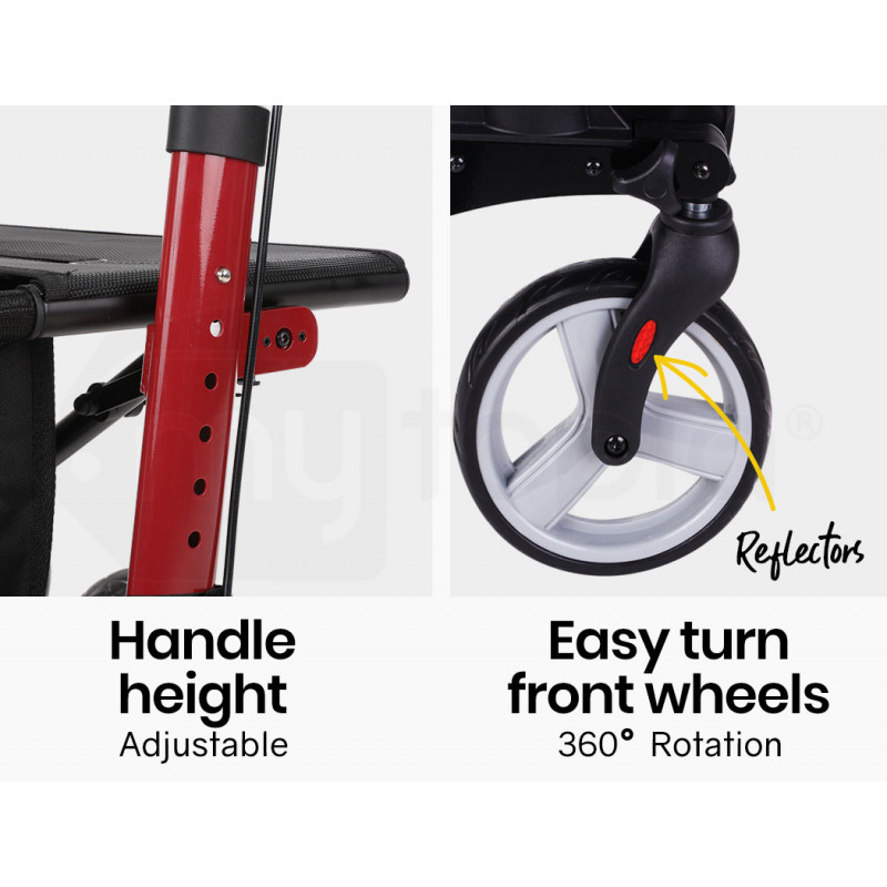 EQUIPMED Foldable Aluminium Walking Frame Rollator with Bag and Seat, Red by Equipmed