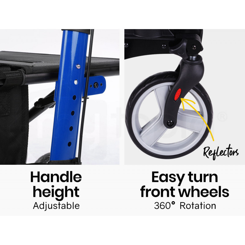 EQUIPMED Foldable Aluminium Walking Frame Rollator with Bag and Seat, Blue by Equipmed