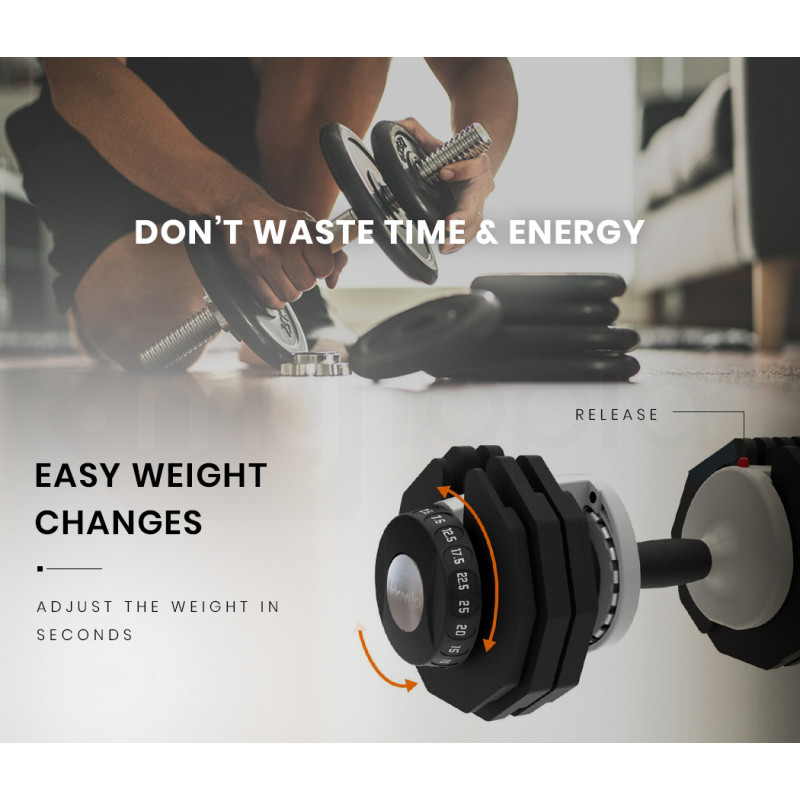ATIVAFIT 25kg Adjustable Weight Dumbbell, for Home Gym Fitness Training by Ativafit