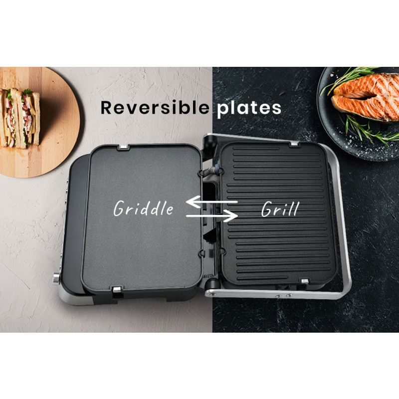 EUROCHEF 4-in-1 Smart Multi Contact Grill and Sandwich Panini Press, with Waffle Maker Plates by EuroChef