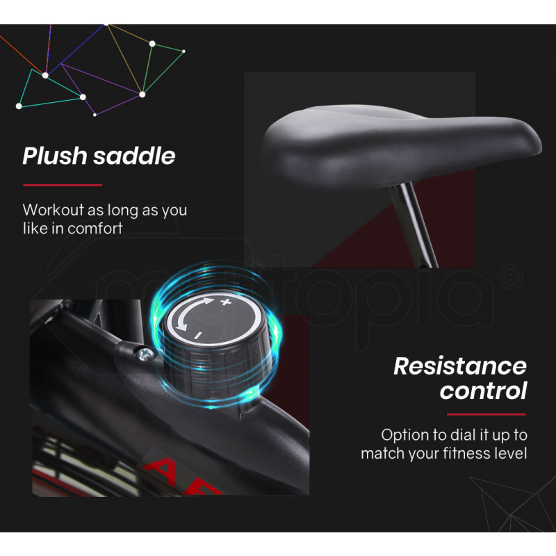 PROFLEX Air Bike, Pulse Sensors, Black and Red by Proflex