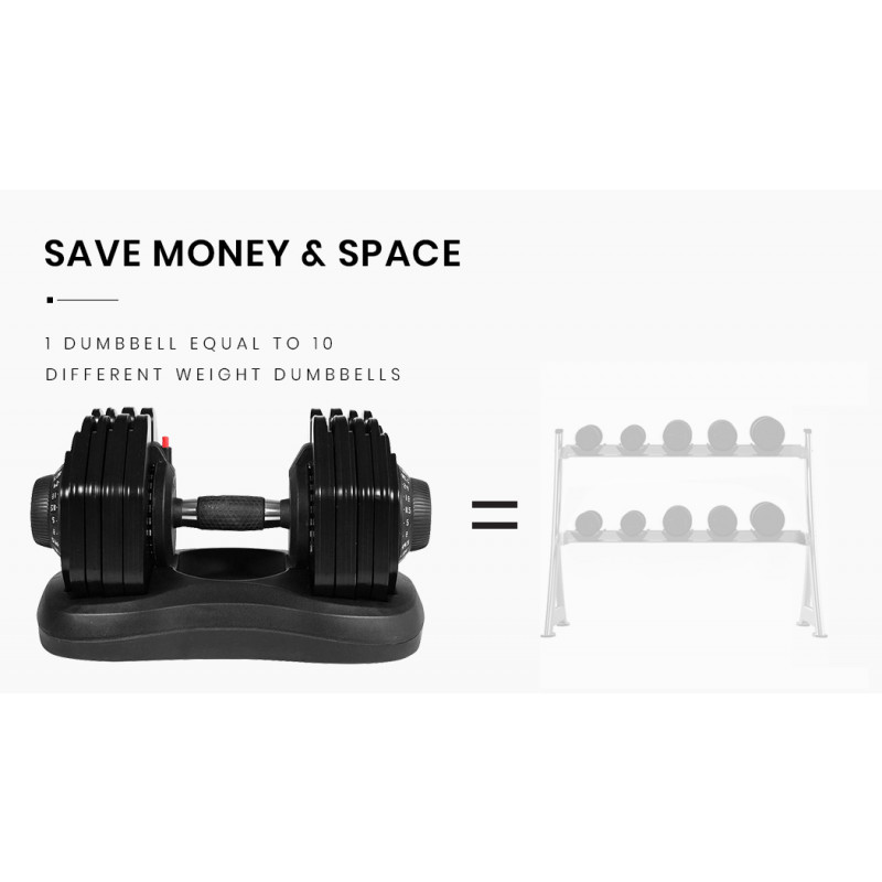 ATIVAFIT 2 x 40kg Adjustable Weight Dumbbell Set with Rolling Stand, for Home Gym Fitness Strength Training by Ativafit