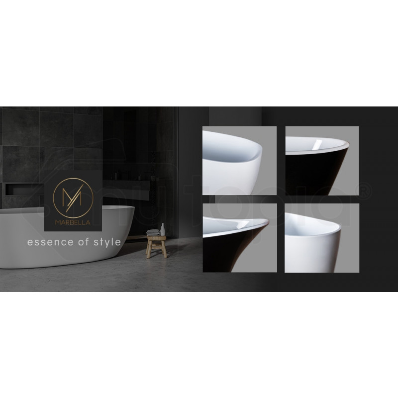 MARBELLA 1600x700x590 Back to Wall Bathtub Gloss White Freestanding Acrylic by Marbella
