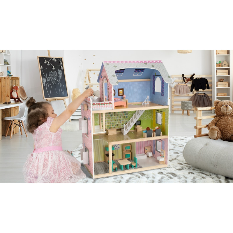 ROVO KIDS Wooden Dollhouse Mansion with 18 Pieces Furniture by Rovo Kids