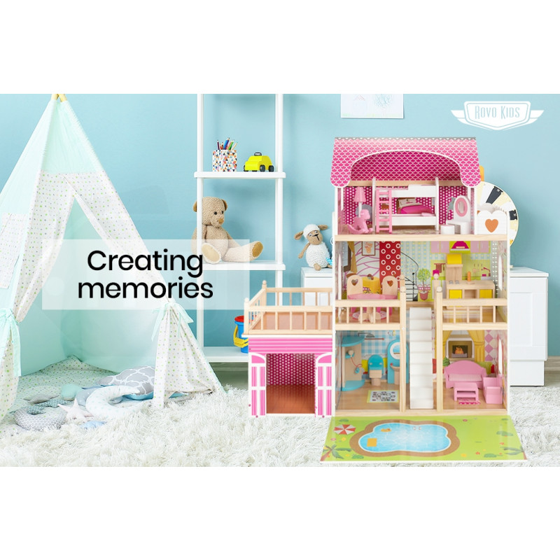 ROVO KIDS Pink Wooden Dollhouse Mansion with Furniture and LED Lighting by Rovo Kids
