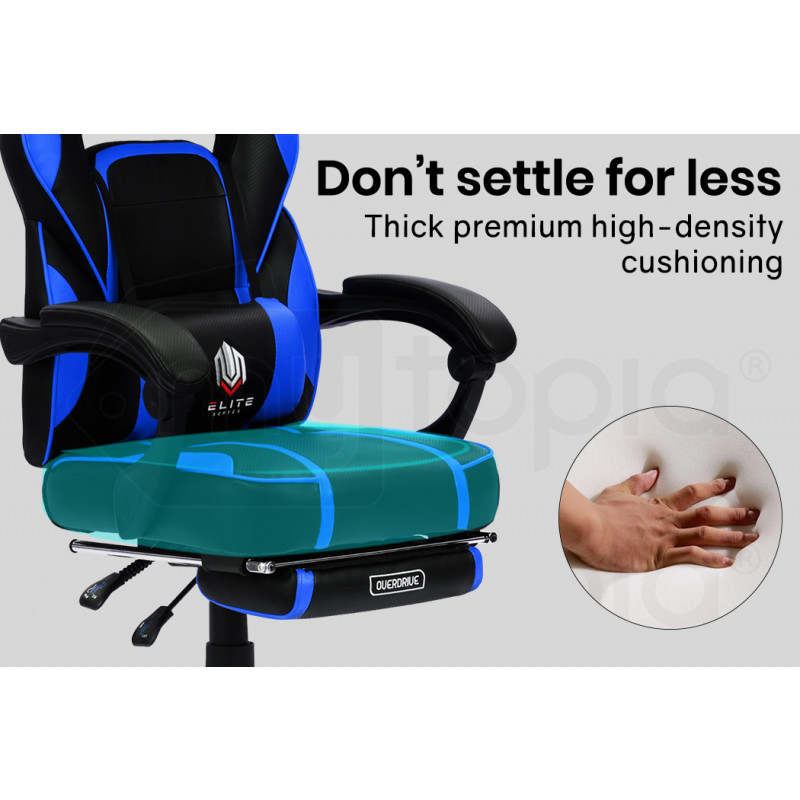 OVERDRIVE Elite Series Reclining Gaming Chair with Footrest, Black and Blue by Overdrive