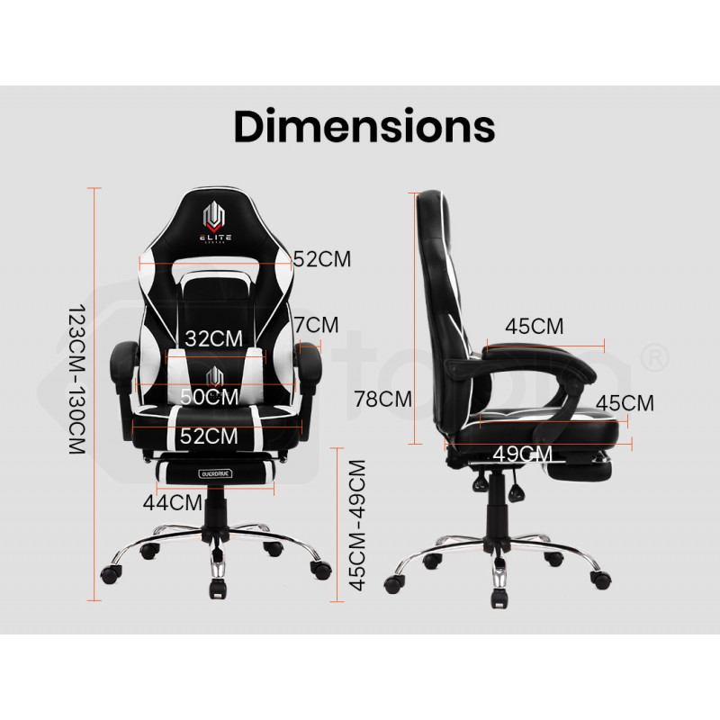 OVERDRIVE Elite Series Reclining Gaming Chair with Footrest, Black and White by Overdrive