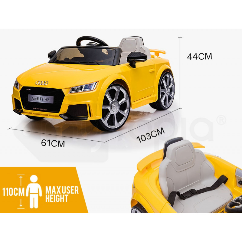 AUDI TT RS Licensed Electric Kids Ride On Car Battery Powered 12V, MP3 Player - Yellow by Audi