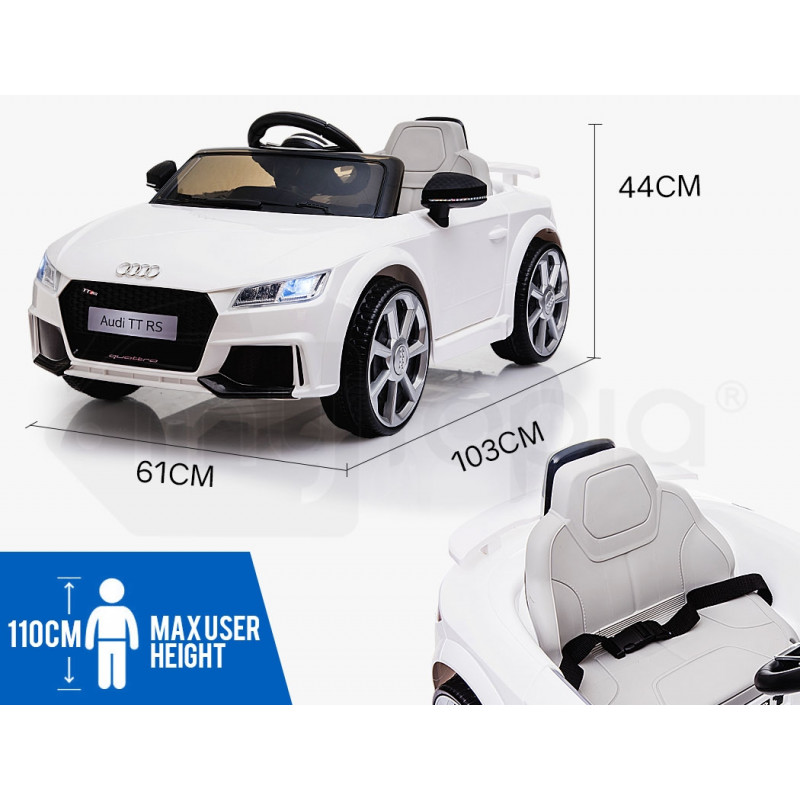AUDI TT RS Licensed Electric Kids Ride On Car Battery Powered 12V, MP3 Player - White by Rovo Kids