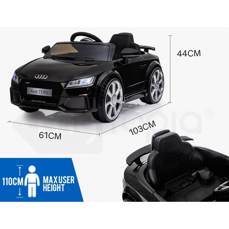 AUDI TT RS Licensed Electric Kids Ride On Car Battery Powered 12V - Black by Rovo Kids