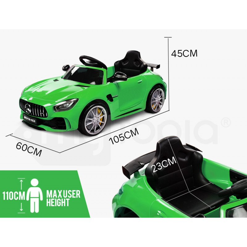 MERCEDES-BENZ AMG GTR Licensed Kids Ride On Car Battery Powered 12W, MP3 Player - Green by Rovo Kids