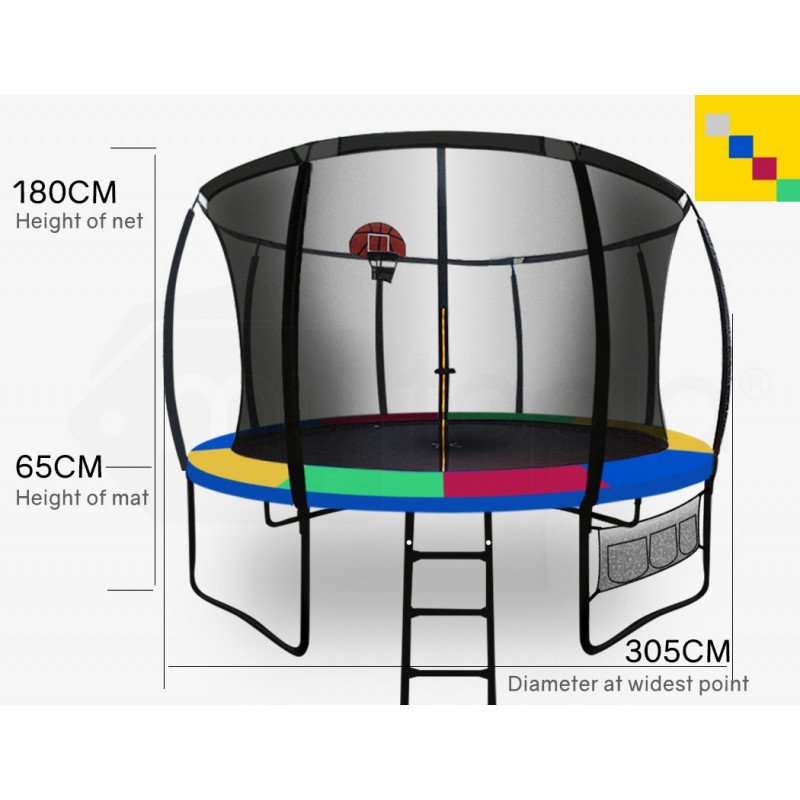 UP-SHOT 10ft Round Kids Trampoline with Curved Pole Design and Basketball Set, Black and Multi-colour by Up-Shot