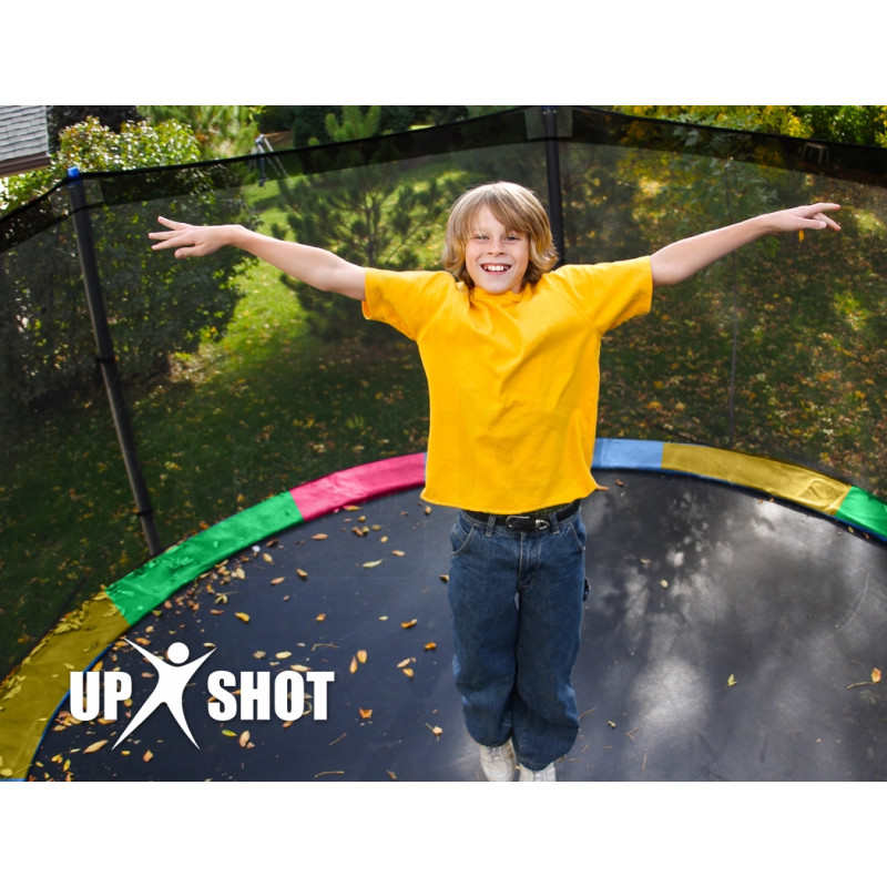 UP-SHOT 16ft Round Kids Trampoline with Curved Pole Design and Basketball Set, Black and Multi-colour by Up-Shot