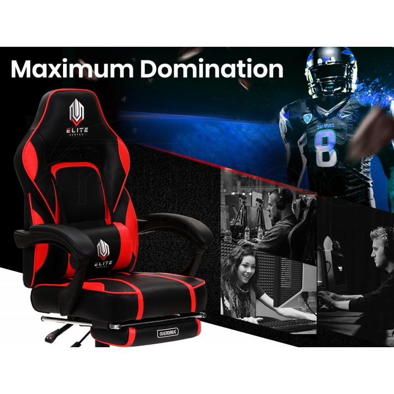 OVERDRIVE Elite Series Reclining Gaming Chair with Footrest, Black and Red by Overdrive