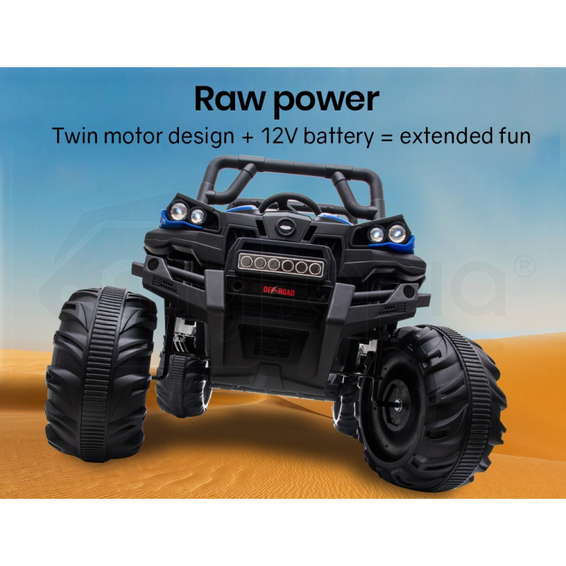 ROVO KIDS Electric Ride On ATV Quad Bike Battery Powered 12V, MP3 Player - Black with Blue by Rovo Kids