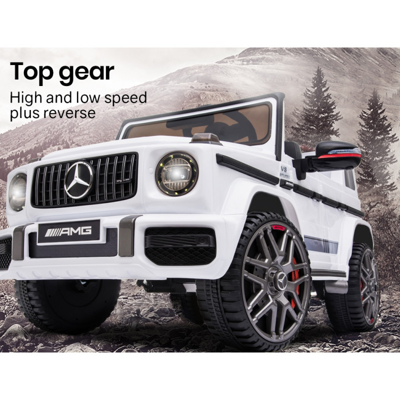 MERCEDES-BENZ AMG G63 Licensed Electric Kids Ride On Car Battery Powered 12V, MP3 Player - White by Rovo Kids