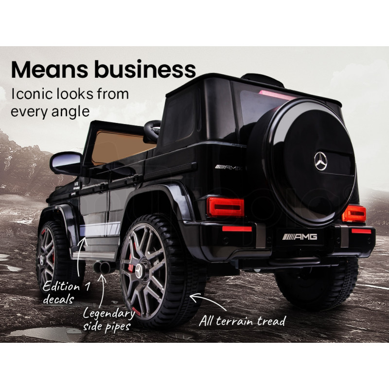 MERCEDES-BENZ AMG G63 Licensed Electric Kids Ride On Car Battery Powered 12V, MP3 Player - Black by Rovo Kids