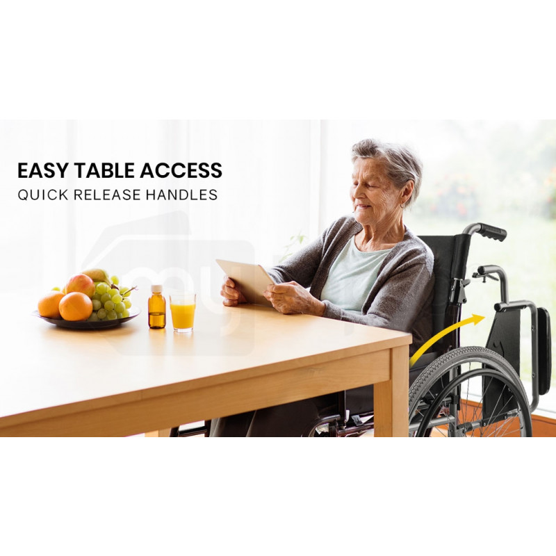 EQUIPMED 24 Inch Folding Wheelchair with Park Brakes Folding Armrests for Dining by Equipmed