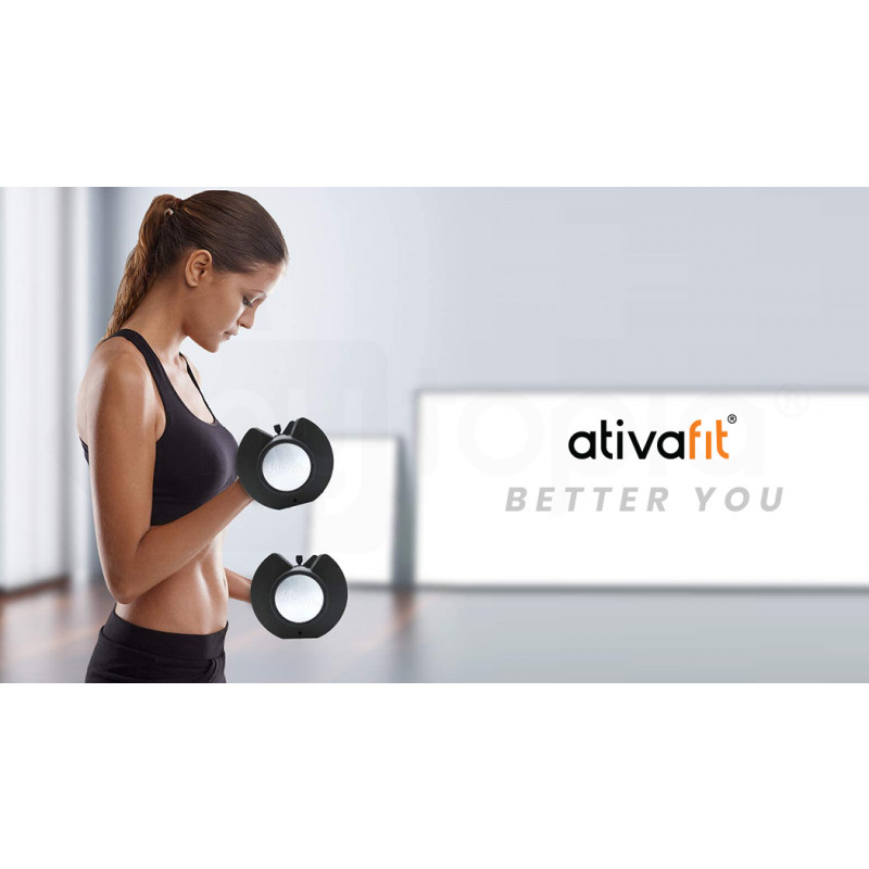 ATIVAFIT 2 x 12.5kg Adjustable Weight Dumbbell Set, for Home Gym Fitness Training by Ativafit