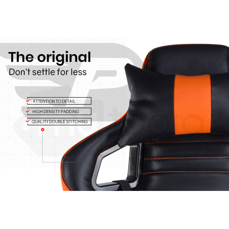 OVERDRIVE Gaming Chair and Desk with Multi-Colour LED Lighting Setup Combo, Black and Orange by Overdrive