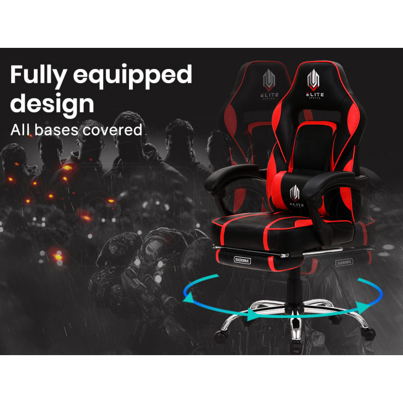 OVERDRIVE Gaming Chair with Footrest and Desk Setup Combo, Black and Red by Overdrive