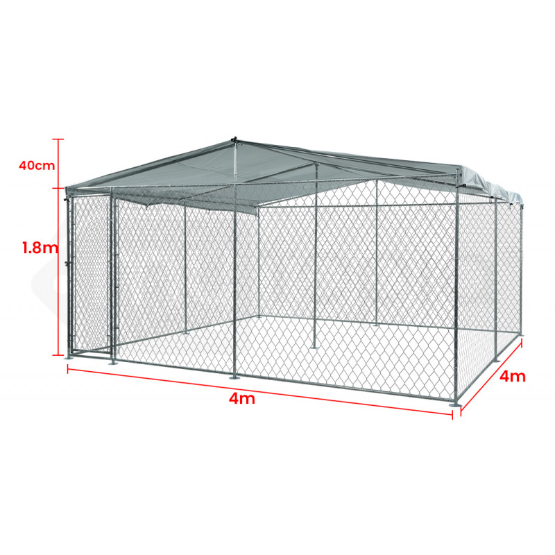 NEATAPET 4x4x1.8m Outdoor Chain Wire Dog Enclosure Kennel with Shade Cover by NeataPet