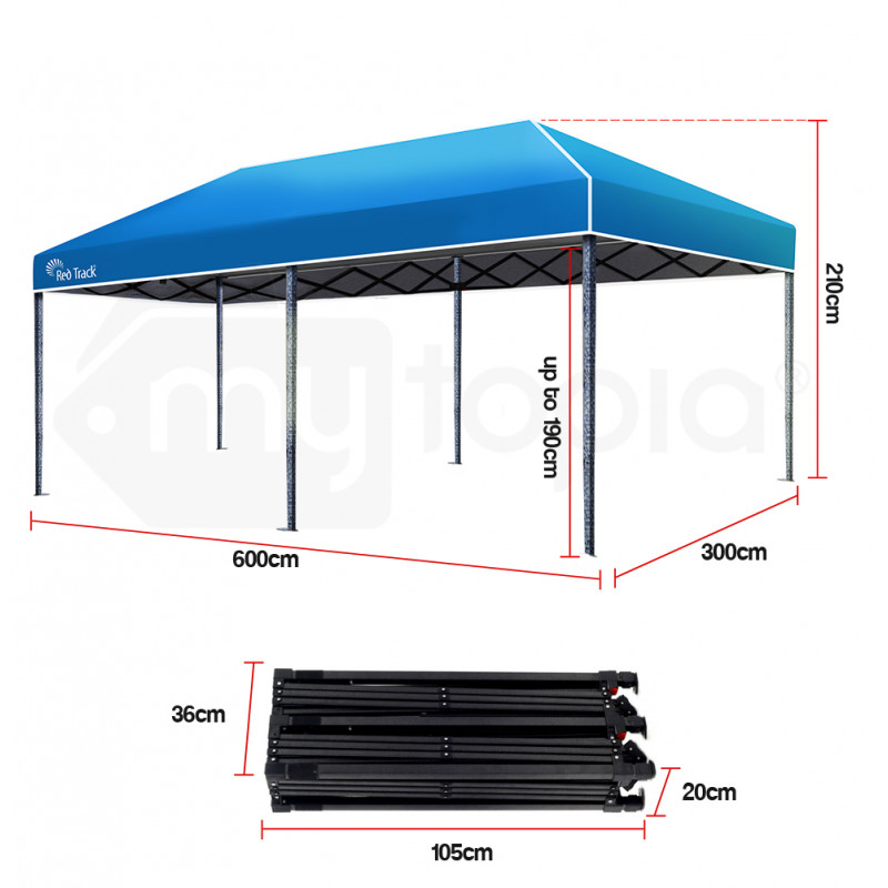 Red Track 3x6m Folding Gazebo Shade Outdoor Blue Foldable Marquee Pop-Up by Red Track