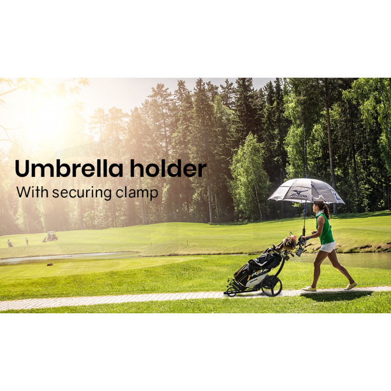 THOMSON Electric Motorised Golf Buggy, Drink and Umbrella Holder, Black by Thomson