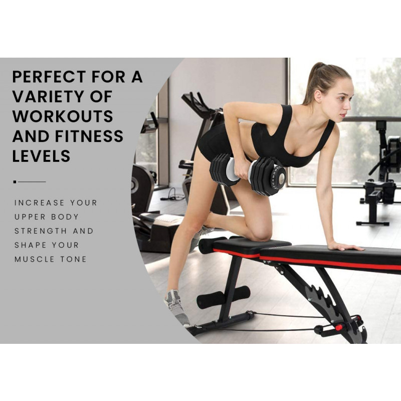 PROFLEX B200 Adjustable Incline Decline Weight Bench with Resistance Bands by Proflex