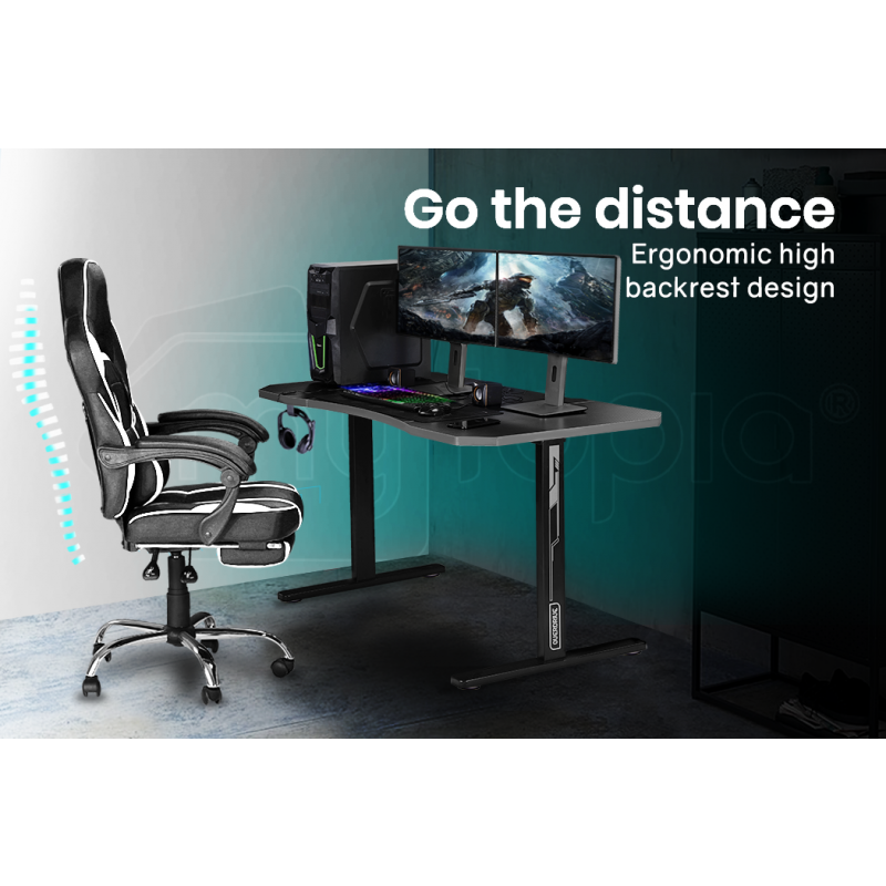 OVERDRIVE Gaming PC Desk Carbon Fiber Style, Black and Grey, with Headset Holder, Gaming Mouse Pad by Overdrive