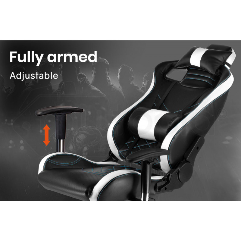 OVERDRIVE Gaming Chair and Desk with Multi-Colour LED Lighting Setup Combo, Black and White by Overdrive