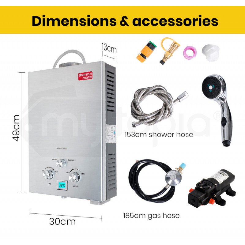 Thermomate  12V Tankless Outdoor Camping Shower Water Heater with Bonus Water Pump by Thermomate
