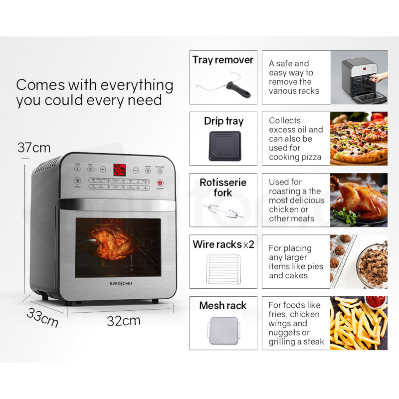 EUROCHEF 16L Digital Air Fryer with Rotisserie, Silver by EuroChef