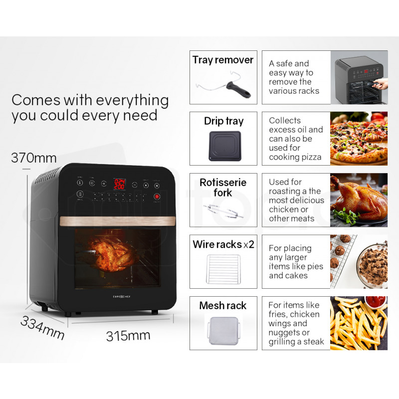 EUROCHEF 16L Digital Air Fryer with Rotisserie, Rose Gold by EuroChef
