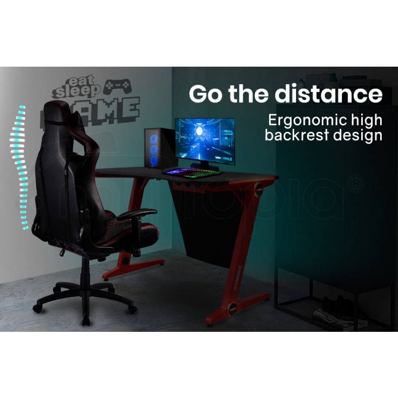 OVERDRIVE Peak Gaming Chair and DX3 Desk with LED Lighting Setup Combo, Black and Red by Overdrive