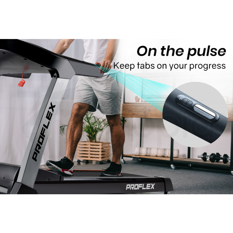 PROFLEX 4CHP Electric Treadmill, 8-Point Suspension, Auto Incline, MP3 Music, Pulse Sensors & Bonus Chest Strap by Proflex