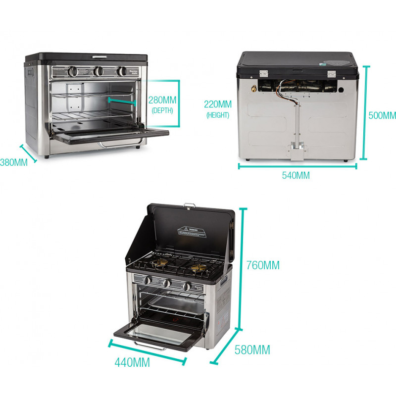 THERMOMATE 2 Burner Portable Camping Oven Cooking LPG Gas Stove Stainless Steel by Thermomate