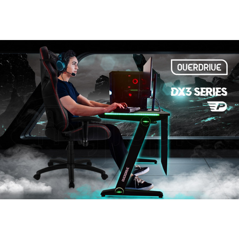 OVERDRIVE Peak Gaming Chair and DX3 Desk with Multi-Colour LED Lighting Setup Combo, Black and Red by Overdrive