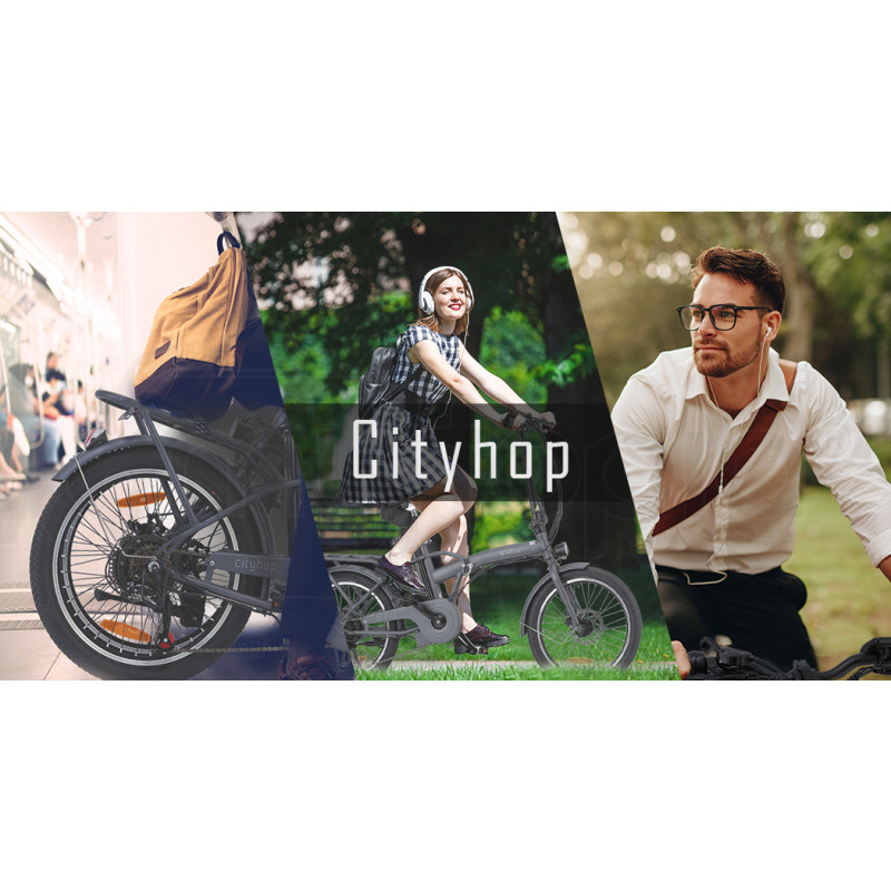 VALK Cityhop 36V 250W Folding Electric e-Bike, Shimano 6 Speed, Disc Brakes, LED Lights, Matte Grey by Valk