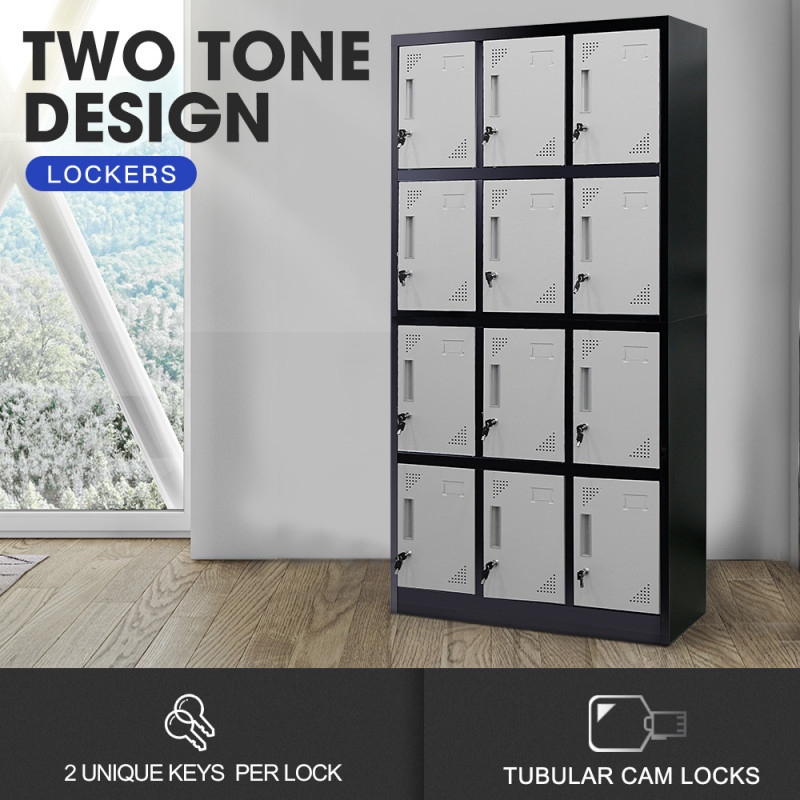 FORTIA 12-Door Steel Storage Lockers, for Gym Office, Black and Light Grey by Fortia