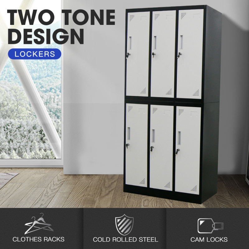 FORTIA 6-Door Metal Gym Storage Lockers, Cam Locks, Clothes Racks, Mirrors, Black and Light Grey by Fortia